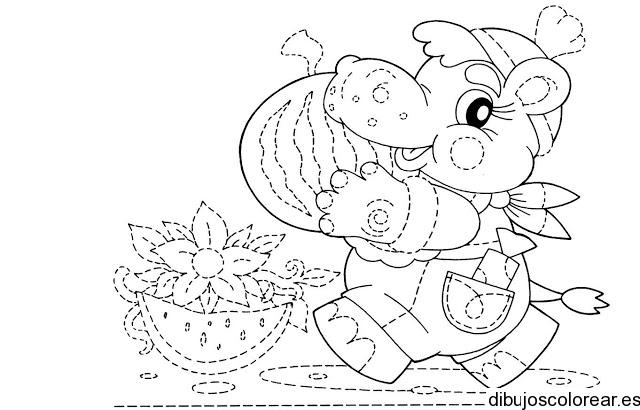 Dibujo de un hipopótamo con sombrero