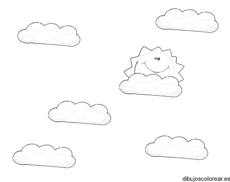 Dibujo del sol entre nubes | Dibujos para Colorear