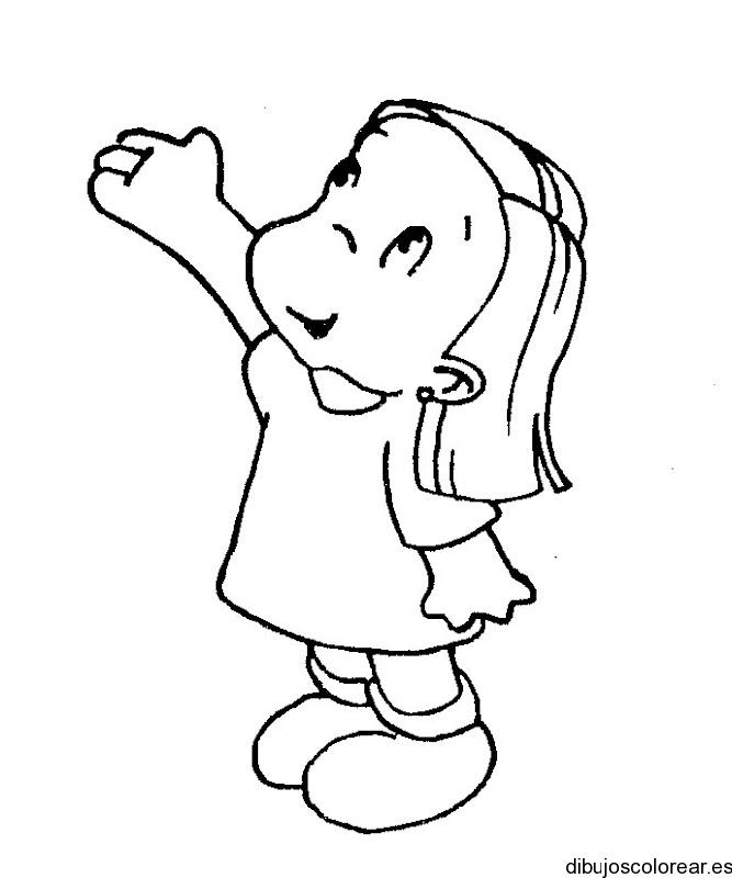 Dibujo de nia viendo al cielo  Dibujos para Colorear