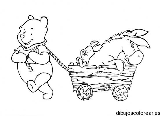 Dibujo de Winnie Poh con Igor y Tigger