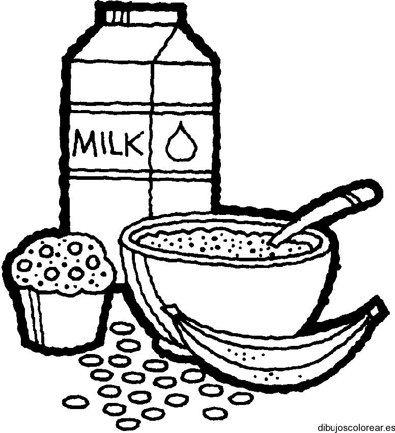 Dibujo de cereales y leche | Dibujos para Colorear