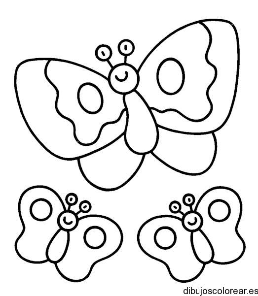 Dibujo de tres maripositas | Dibujos para Colorear