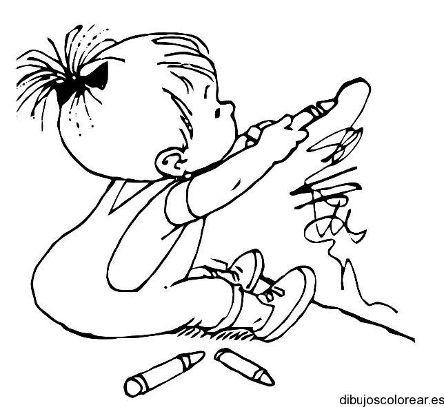 Dibujo De Niño Escribiendo En La Pared