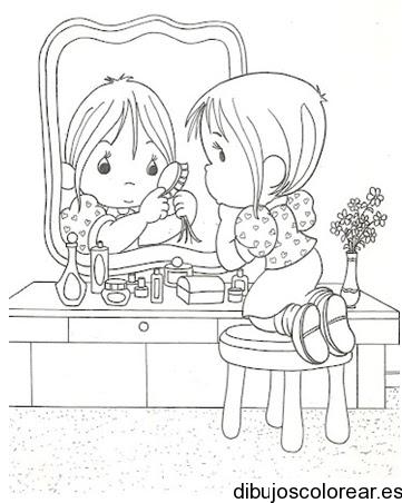 Dibujo de una niña peinándose