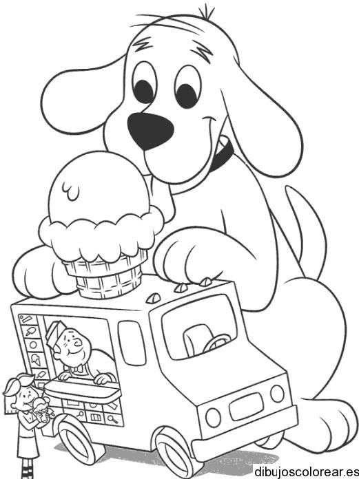 Dibujo de perro y el carro de helados | Dibujos para Colorear