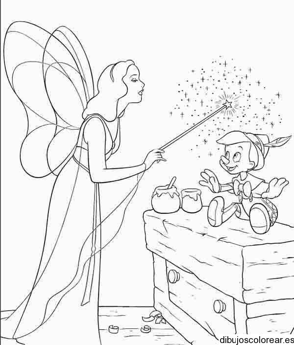 Dibujo del hada madrina visitando a Pinocho  Dibujos para Colorear