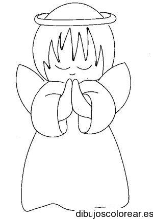 Dibujo de un ángel en oración