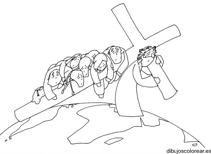 Dibujo de Jesús con la cruz