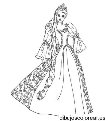 Dibujo de una princesa con una trenza
