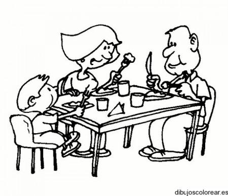 Familia almorzando para colorear - Imagui