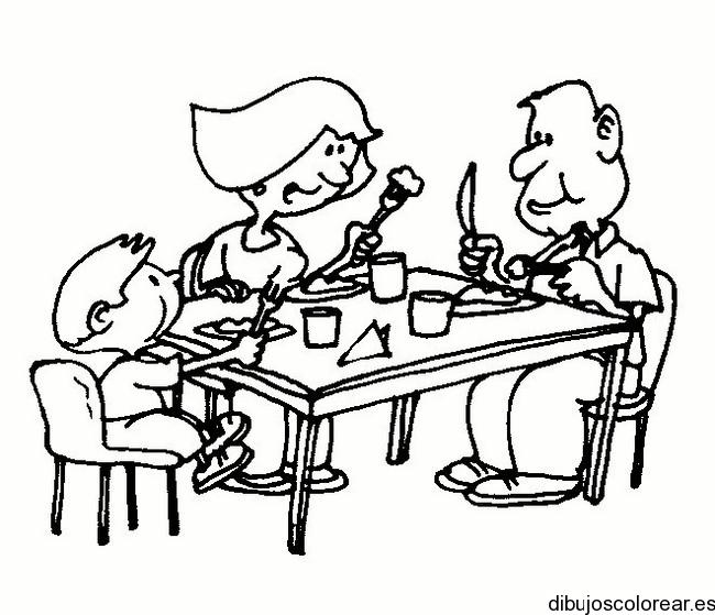 Dibujo de una familia comiendo  Dibujos para Colorear