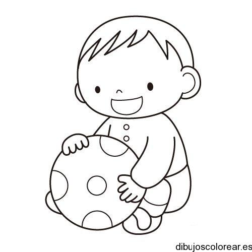Dibujo de un beb con una pelota  Dibujos para Colorear