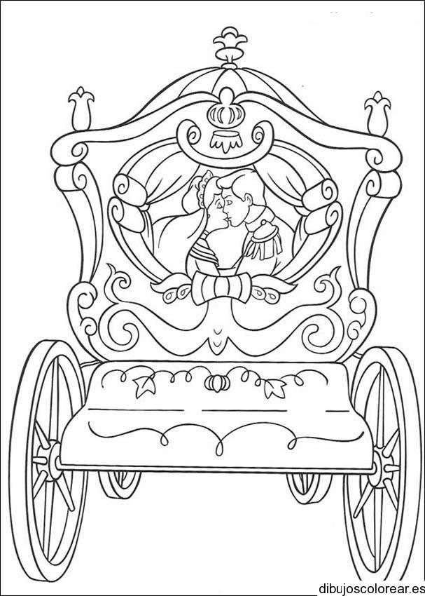Dibujo de Cenicienta y el príncipe en la carroza  Dibujos ...
