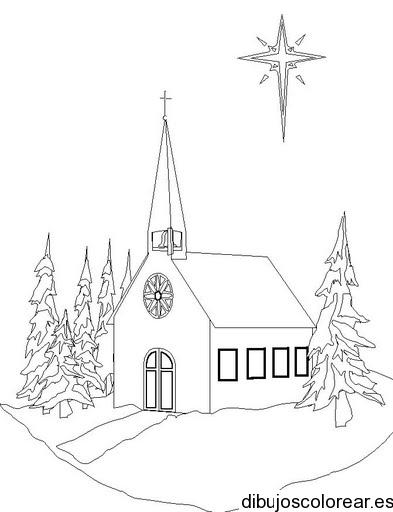 Dibujo De Una Estrella Sobre Una Iglesia