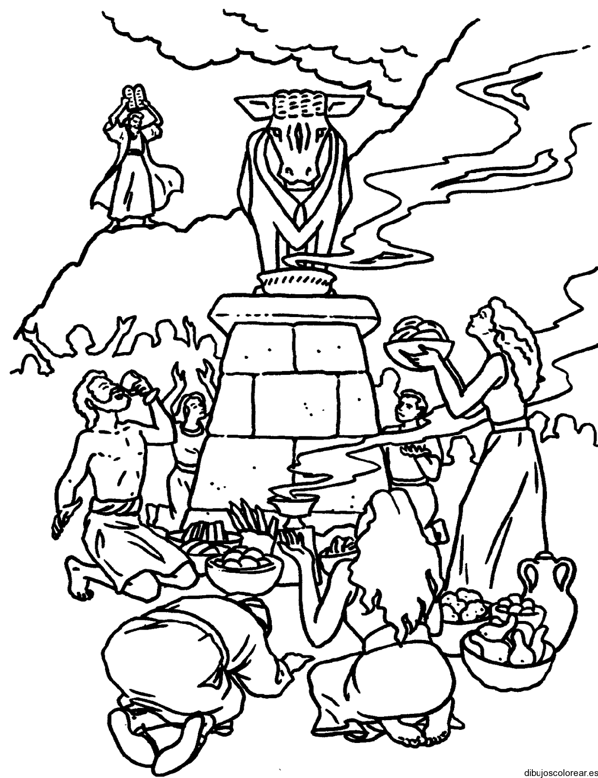 Dibujo del becerro de oro for The golden calf coloring page