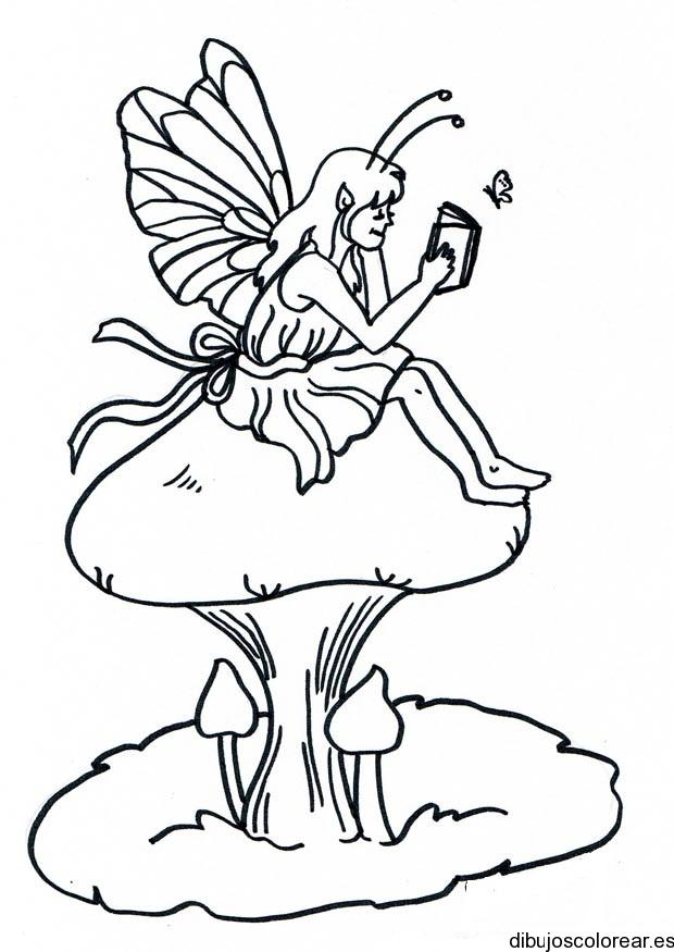 Dibujo de un hada sobre un hongo