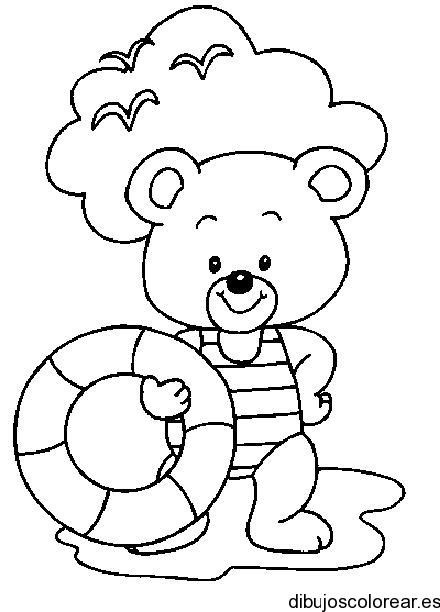 Baños Infantiles Para Colorear:Dibujo de un oso en traje de baño