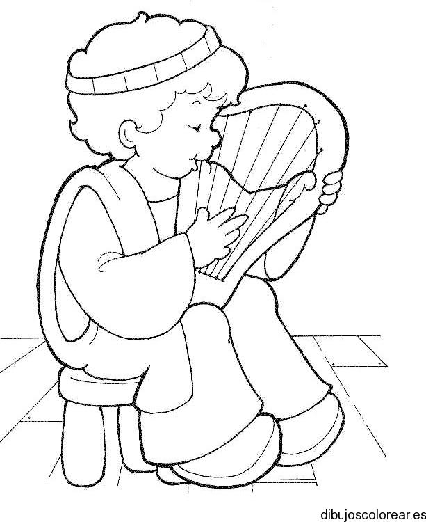 Dibujo de un nio con arpa  Dibujos para Colorear