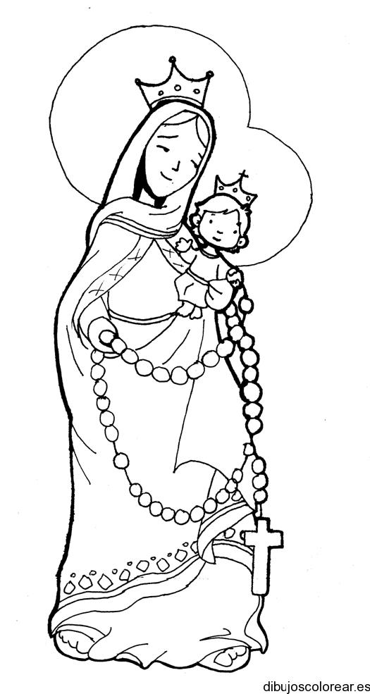 Dibujo Con Imagen De La Virgen De La Asunción