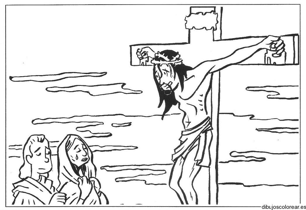 Dibujo de Jesús en la cruz hablando con su madre