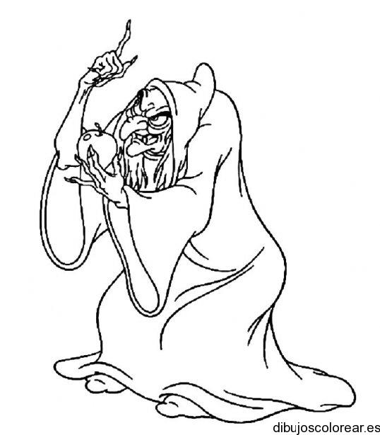 Dibujo de una malvada bruja  Dibujos para Colorear
