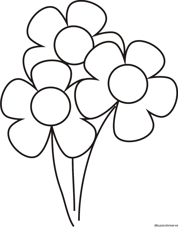 Dibujo de tres pequeñas flores