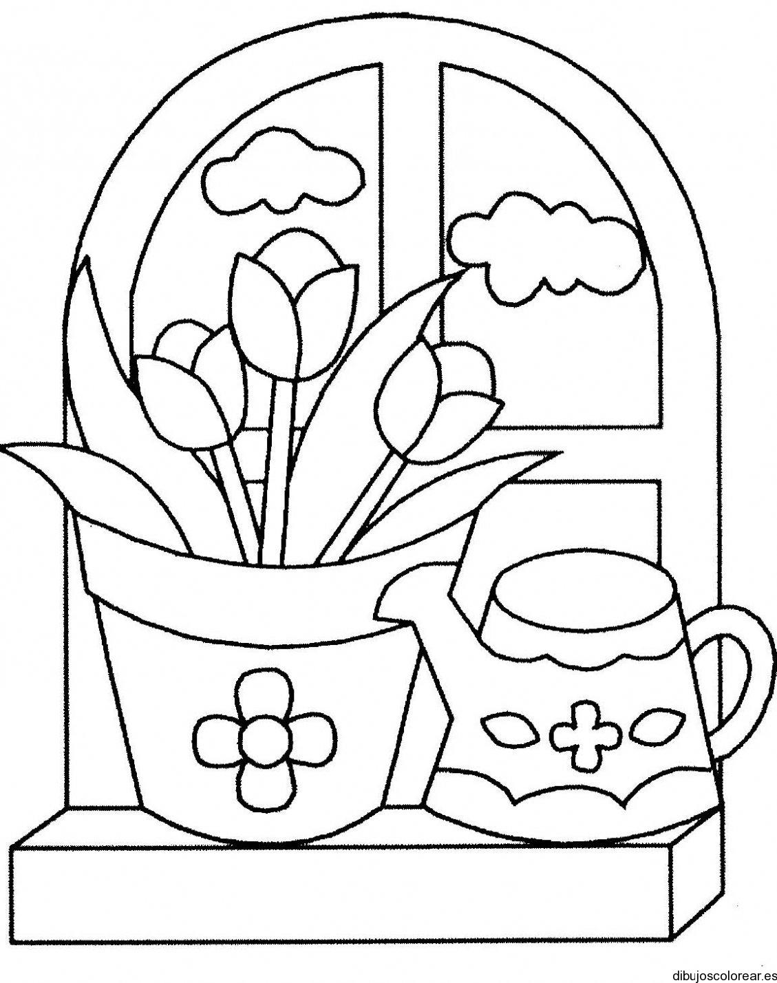 Dibujo de una ventana con flores