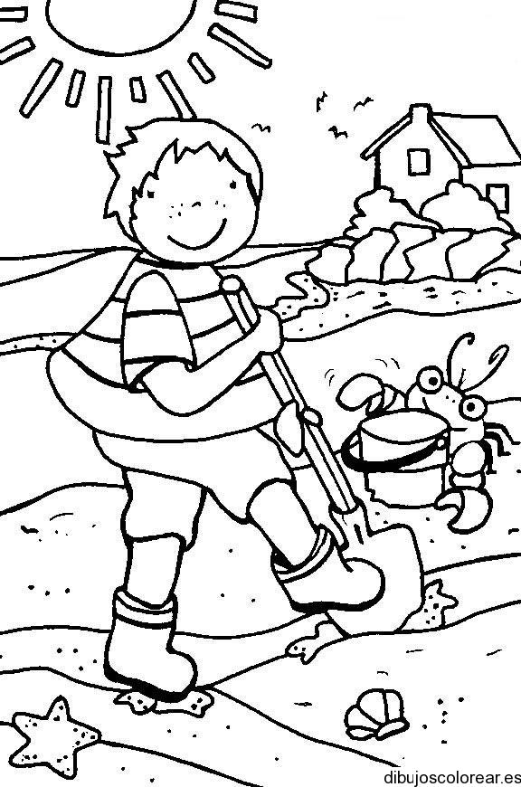 Dibujo de un nio de paseo en primavera  Dibujos para Colorear
