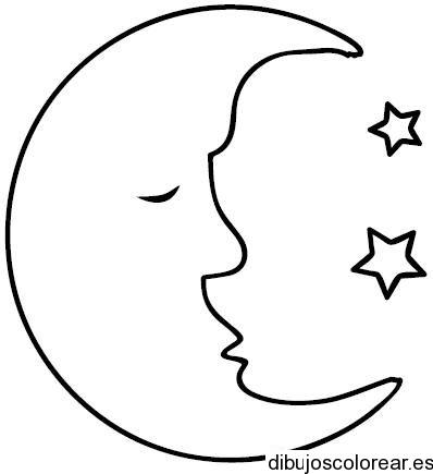 Dibujo de una luna durmiendo y una estrella