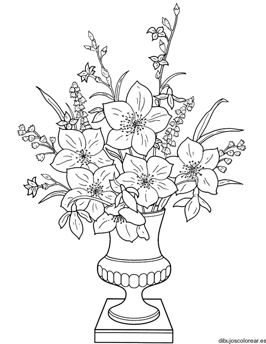 Dibujo de un elegante jarrón con flores
