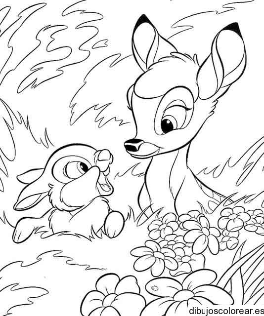Dibujo de un venado y un conejo