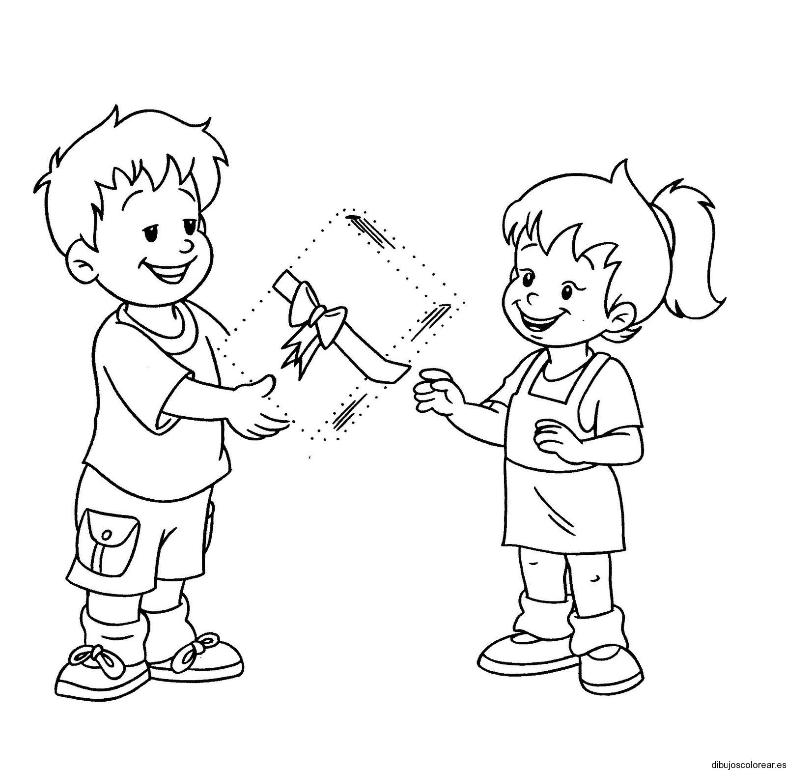 2 niños para colorear - Imagui