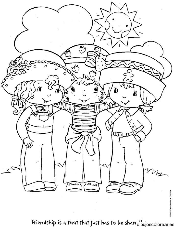 Dibujo de Fresita y dos amigas  Dibujos para Colorear