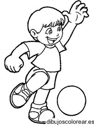 Dibujo De Un Niño Jugando Con Un Balón