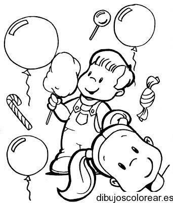 Dibujo De Dos Niños Jugando Con Globos
