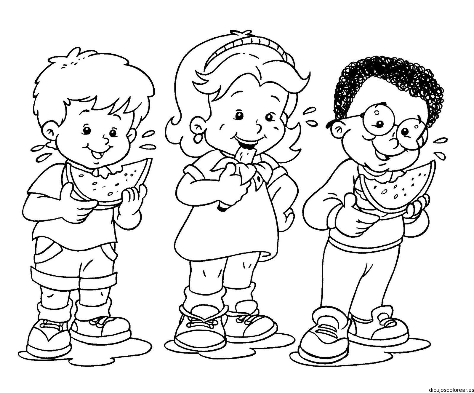 Dibujo de tres niños comiendo frutas | Dibujos para Colorear