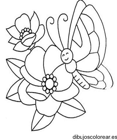 Dibujo de flores y mariposas