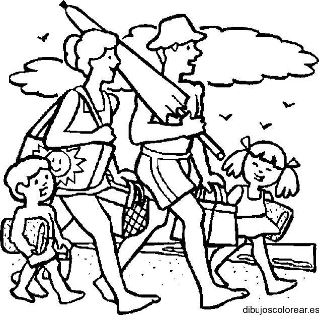 Dibujo de una familia en la playa de veraneo  Dibujos para Colorear