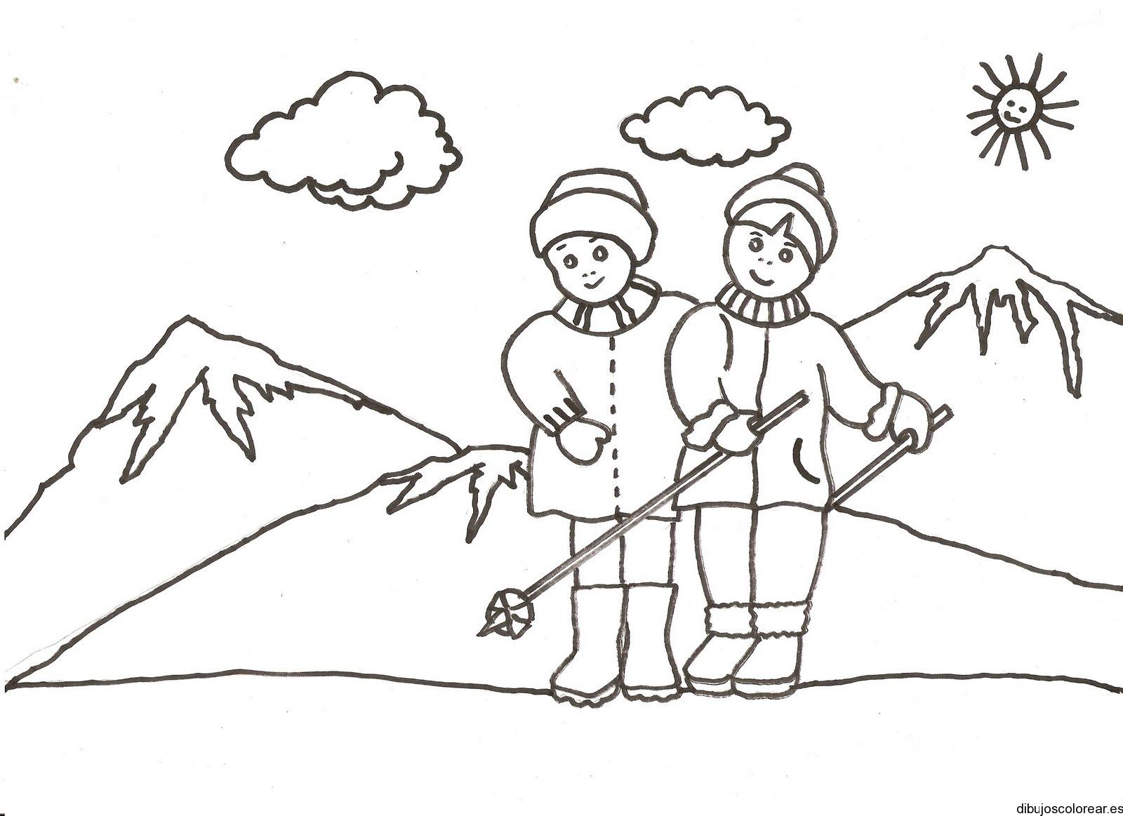 Dibujo de dos niños en la nieve