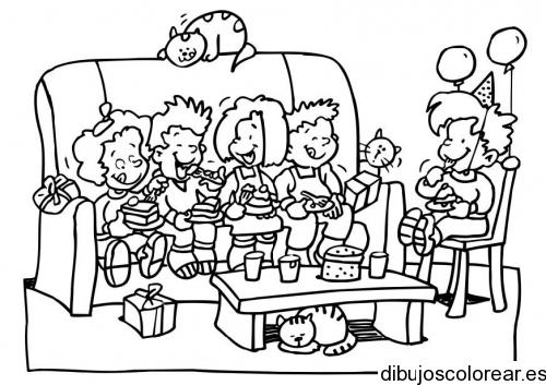 Dibujo de nios en una fiesta  Dibujos para Colorear