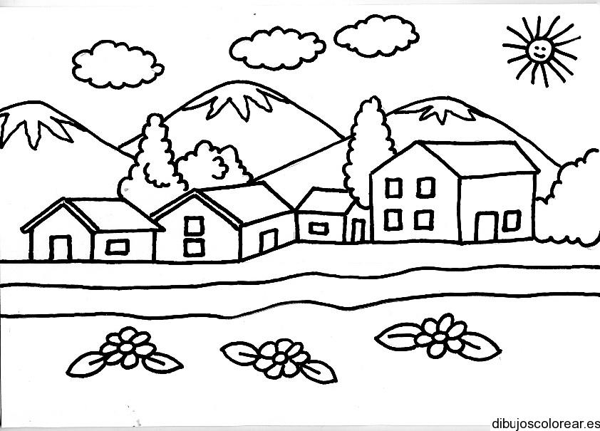 Dibujos de casas cerca de las montañas