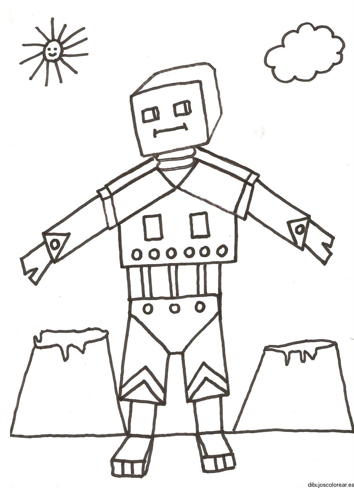 Dibujo de un robot con brazos extendidos