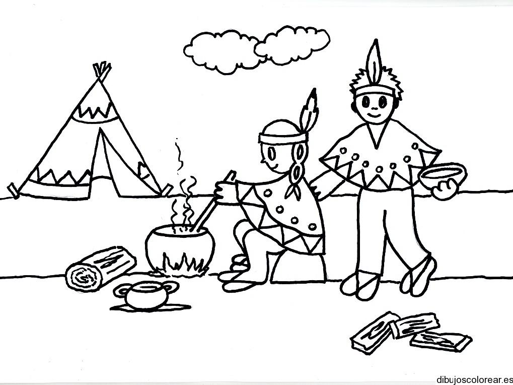 Dibujo de dos ni os indios cocinando - Casa asia empleo ...
