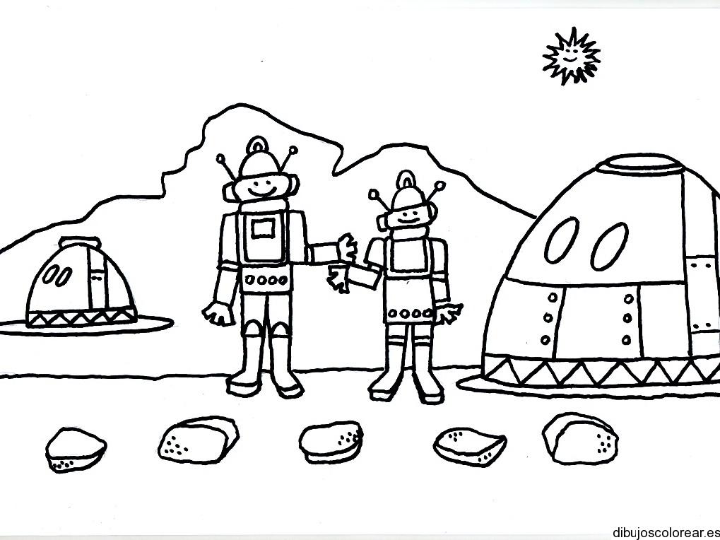 Dibujo De Dos Robots Saludándose