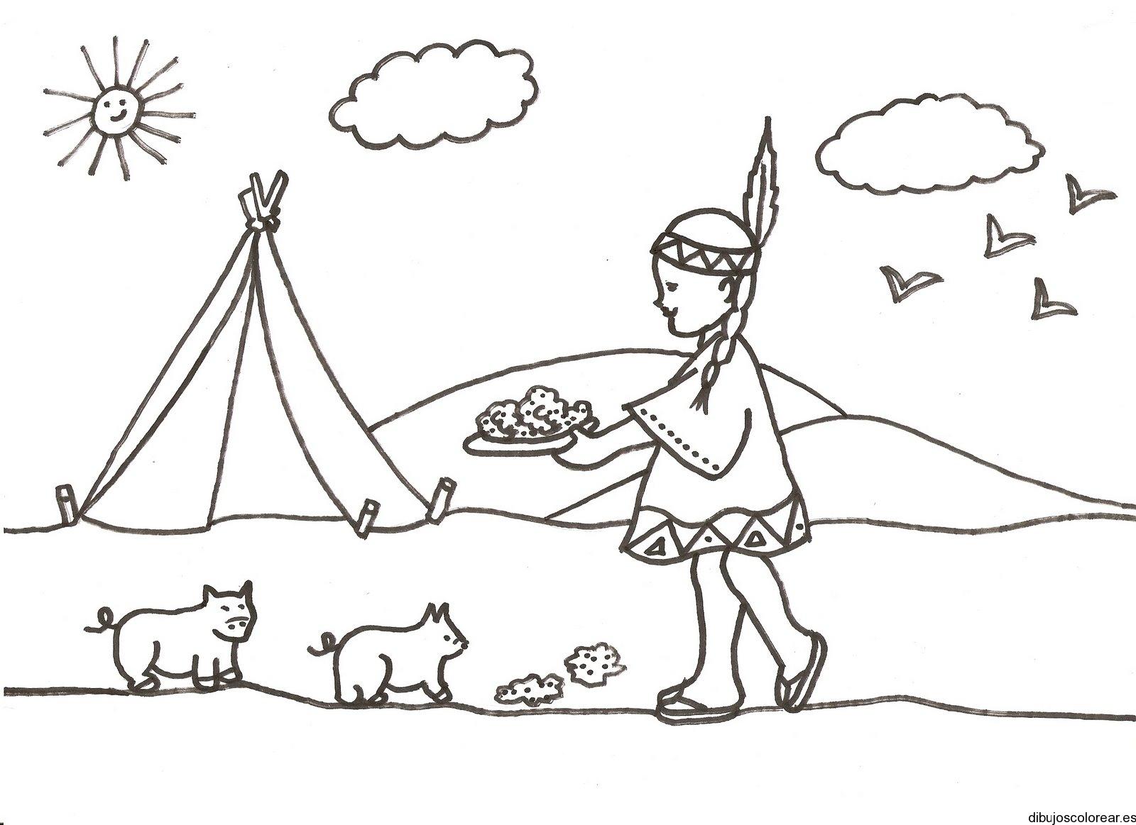 Dibujo de niña india con dos gatos
