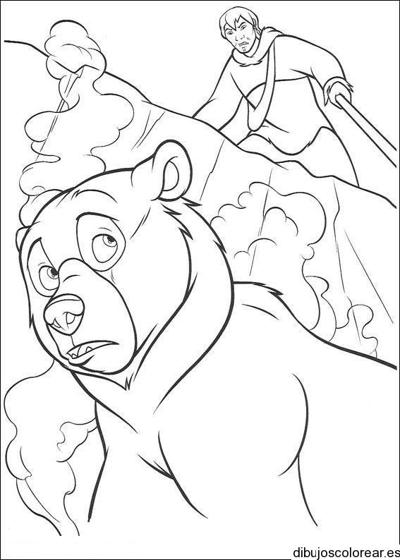 Dibujo De Un Cazador Y Un Oso
