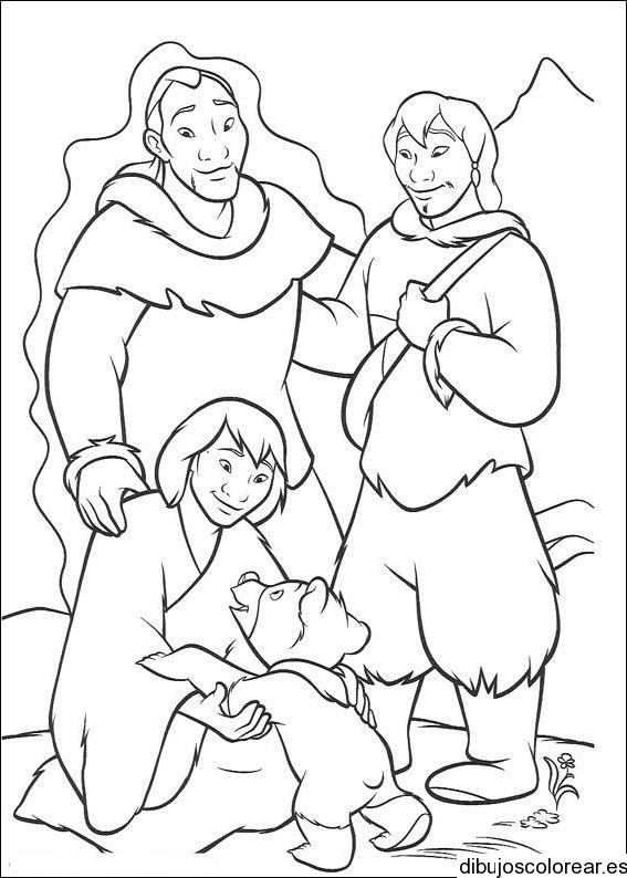 Dibujo de tres esquimales y un oso
