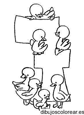 Dibujo Del Número 7 Con Patitos