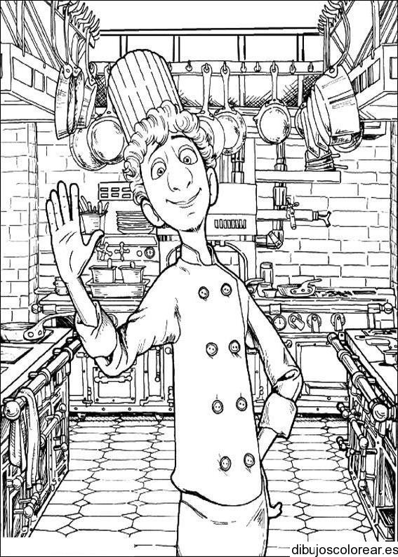 Dibujo de un chef en su cocina - Dibujos de cocina ...