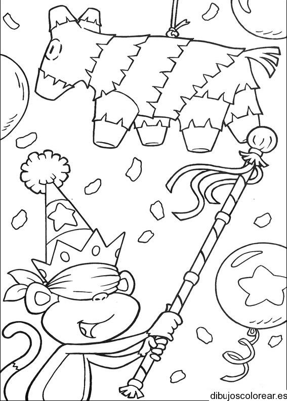 Dibujo De Un Mono Y Una Piñata
